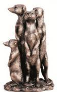 Silver Meerkat Family  -  25 x 15 cm (TNAC 40)