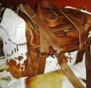 Brown Nguni Hide Pockets & Brown Leather Travel Bag (ERTRABRN)