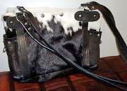 Nadine Nguni Hide Handbag  -  Black & White (ERNADBLN)