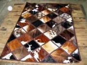 Nguni Hide  -  Mixed Colours / Diagonal Squares  (Per Square Metre) ()